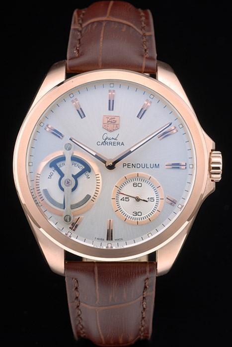 Tag Heuer Carrera Pendulum bracelet en cuir brun 7918