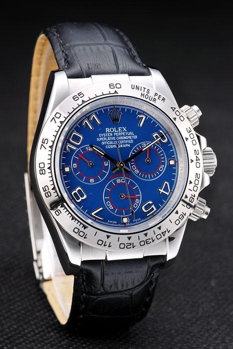Acier inoxydable Rolex Daytona Case cadran bleu bracelet en cuir noir