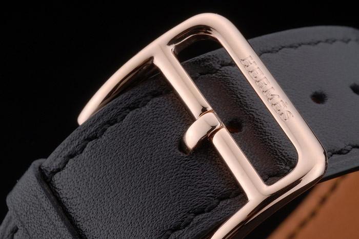 Hermes Heure H Rose lunette en or bracelet en cuir noir cadran blanc 80235