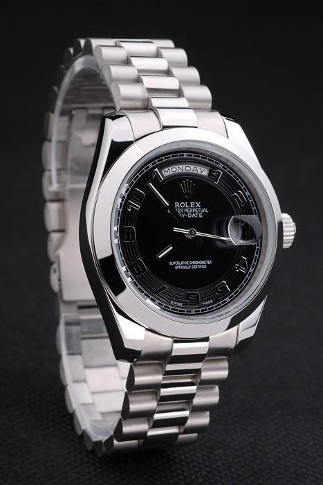 Swiss Rolex Day-Date Bracelet en acier inoxydable à cadran noir 80294