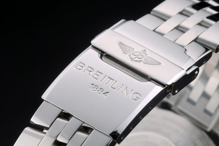 Poli Argent bracelet en acier inoxydable noir Breitling Dial Chronographe 80173