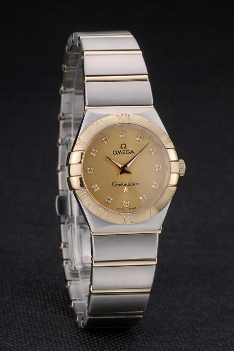 Swiss Lady Omega Constellation Golden Dial Bracelet en acier inoxydable 80292